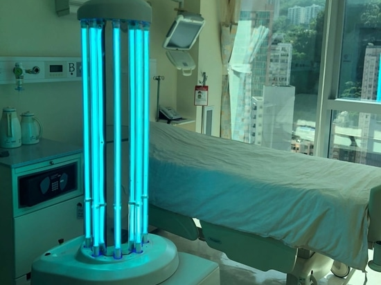 A disinfection robot using UV in a patient room