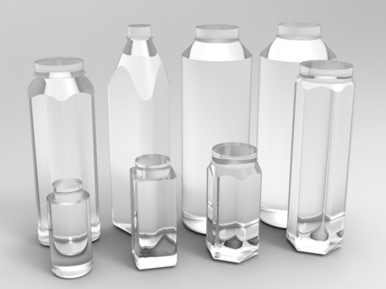 8 types of PET plastic containers in different sizes and geometries