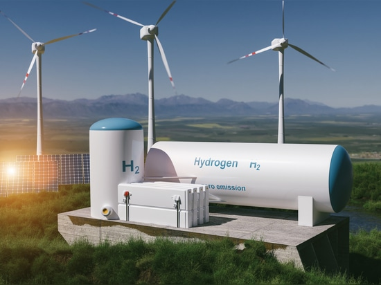 Hydrogen renewable energy production – hydrogen gas for clean electricity solar and windturbine facility. 3d rendering.