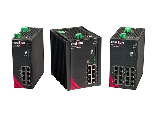Red Lion Adds Compact Industrial Gigabit and PoE+ DIN-Rail Switches to NT24k Platform