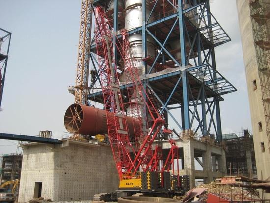 SANY SCC500 50t crawler cranes building Nigeria's Dangote cement plant