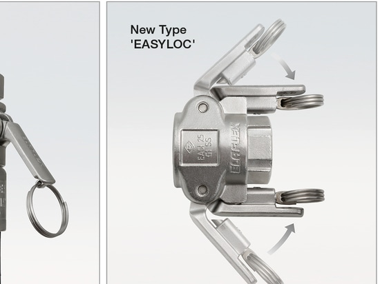 Camlock coupling 'AMK' and new tType 'Easyloc' with lockable levers