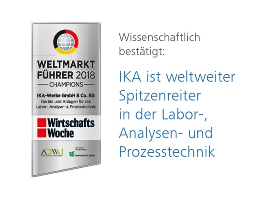 Scientifically confirmed: IKA is global leader in laboratory, analytical and process technology