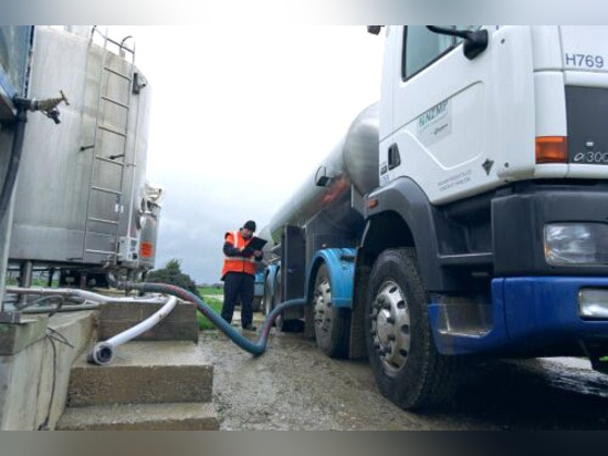 Fonterra milk being collected from the farmer by tanker.