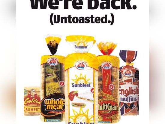 George Weston advertisement showing the product range and explaining the 2002 fire.