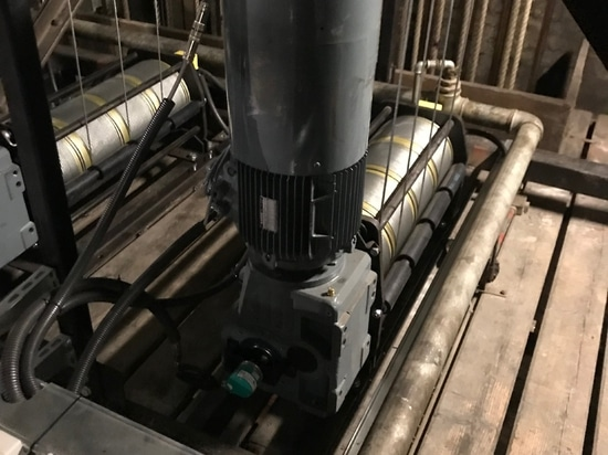 Bevel geared motors installed in theater application