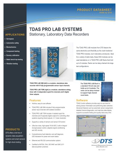 TDAS PRO LAB Standalone, Laboratory Data Recorders