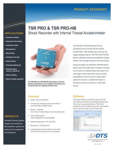 TSR PRO & TSR PRO-HB Shock Recorder with Triax Accelerometer