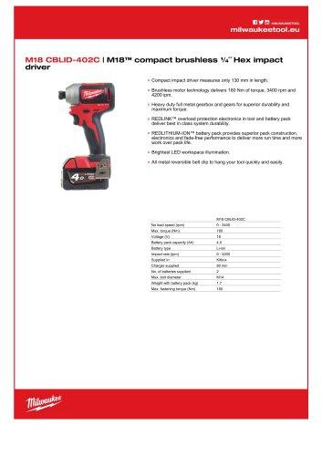 M18 CBLID-402C | M18™ compact brushless ¼˝ Hex impact
