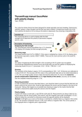 ThyssenKrupp manual GaussMeter