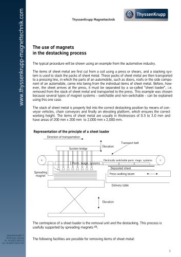 The use of magnets in the destacking process