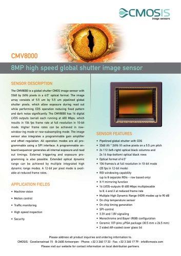 8MP high speed global shutter image sensor