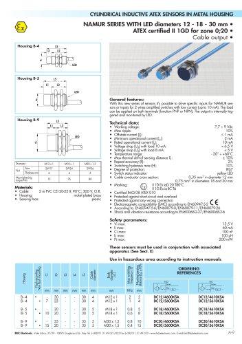NAMUR SERIES WITH LED diameters 12 - 18 - 30 mm