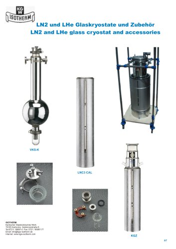LN2 and LHe glass cryostat and accessories