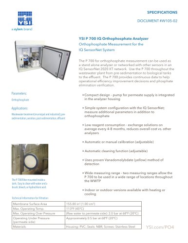 P 700 Orthophosphate Analyzer Specifications Sheet