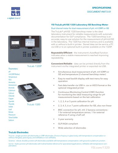 YSI TruLab pH/ISE 1320 Laboratory ISE Benchtop Meter