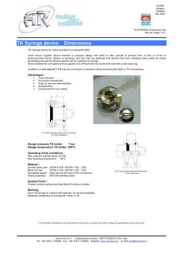 TK Syringe device Dimensinons