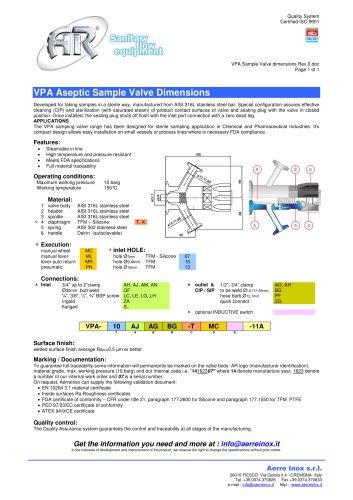 VPA Sample Valve dimensions