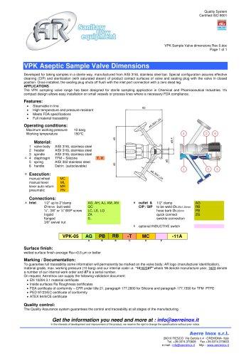 VPK Sample Valve dimensions