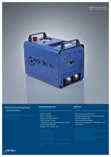 Electrical hydraulic power unit - battery driven
