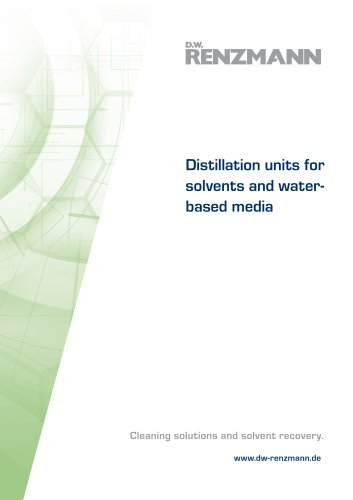Distillation units for solvents and waterbased media