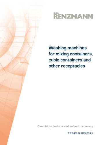 Washing machines for mixing containers, cubic containers and other receptacles