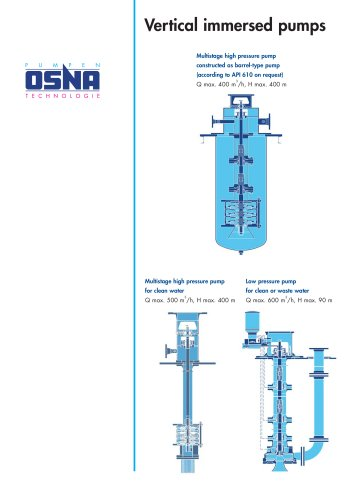Vertical immersion pumps