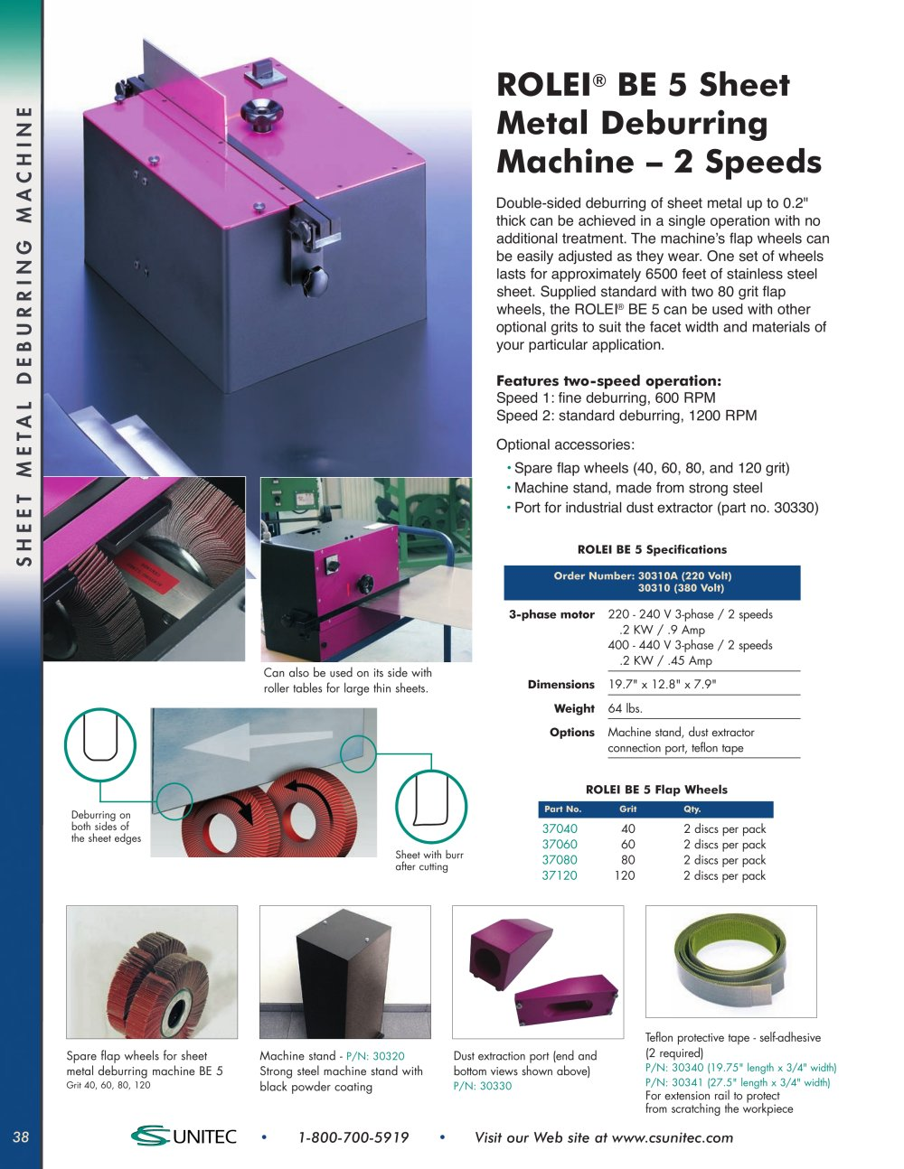 Sheet Metal Deburring Beveling Faceting Machines Cs Unitec Two Speeds Directions Multispeed 3phase Motor Power 1 6 Pages