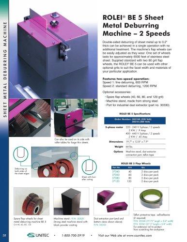 Sheet Metal Deburring, Beveling & Faceting Machines