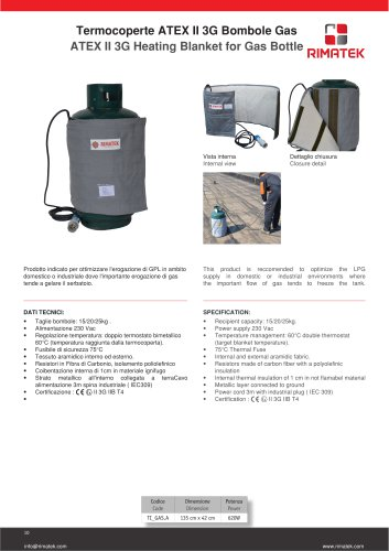 ATEX II 3G Heating Blanket for Gas Bottle