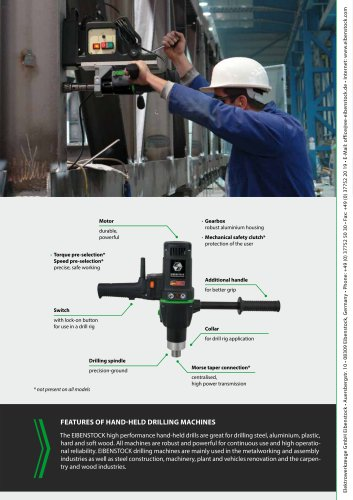 features of Hand-held drilling machines