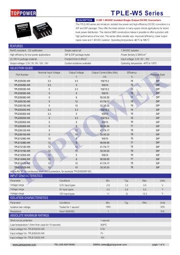 TPLE-W5 series 0.5W DC/DC