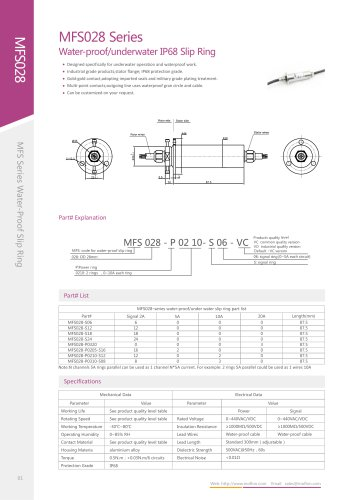 Electric slip ring MFS028 series