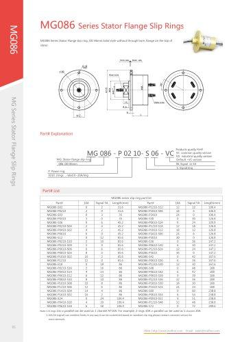 Electric slip ring MG086 series
