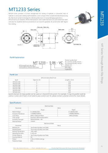 Electric slip ring MT1233 series