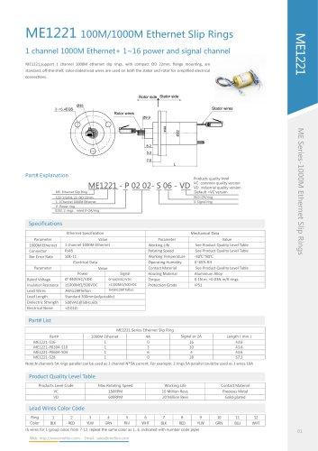 Ethernet slip ring ME1221 series
