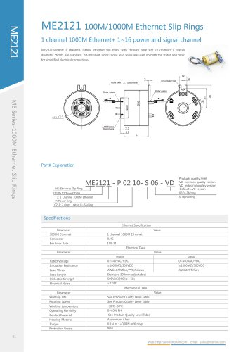 Ethernet slip ring ME2121 seri