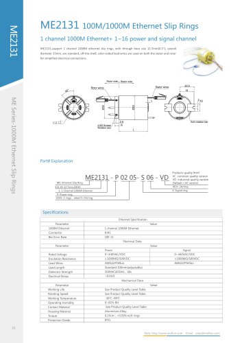 Ethernet slip ring ME2131 series