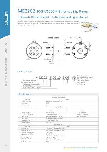 Ethernet slip ring ME2202 series