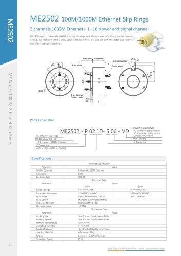 Ethernet slip ring ME2502 series