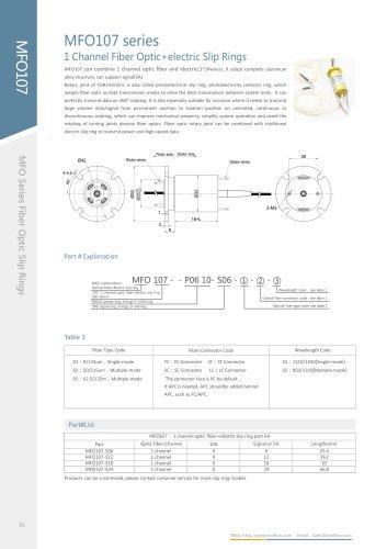 Fiber optic slip ring MFO107 series