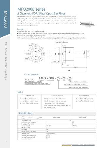 Fiber optic slip ring MFO200B series