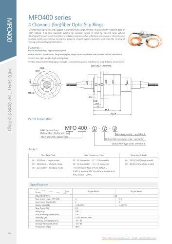 Fiber optic slip ring MFO400 series