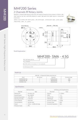 High-speed slip ring MHF200 series