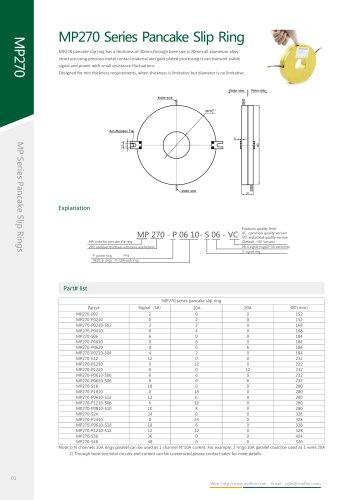Metal slip ring MP270 series