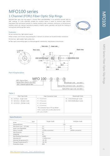 MFO100 series fiber rotary joint