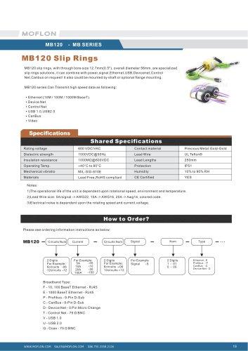 Moflon MB Series slip ring for Profibus,Profinet,DeviceNet,Canbus,232 485 422