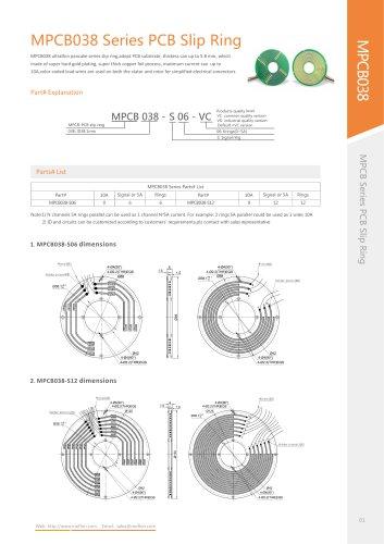 Pancake type slip ring MPCB038 series