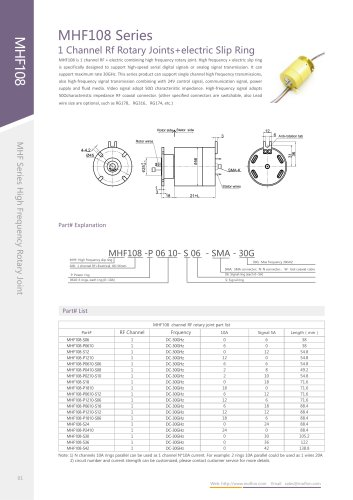 Signal transmission electrical rotary joint MHF108 series