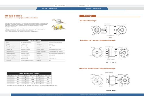 Through bore MT025 series slip rings 25.4mm,Overall Diameter: 86mm